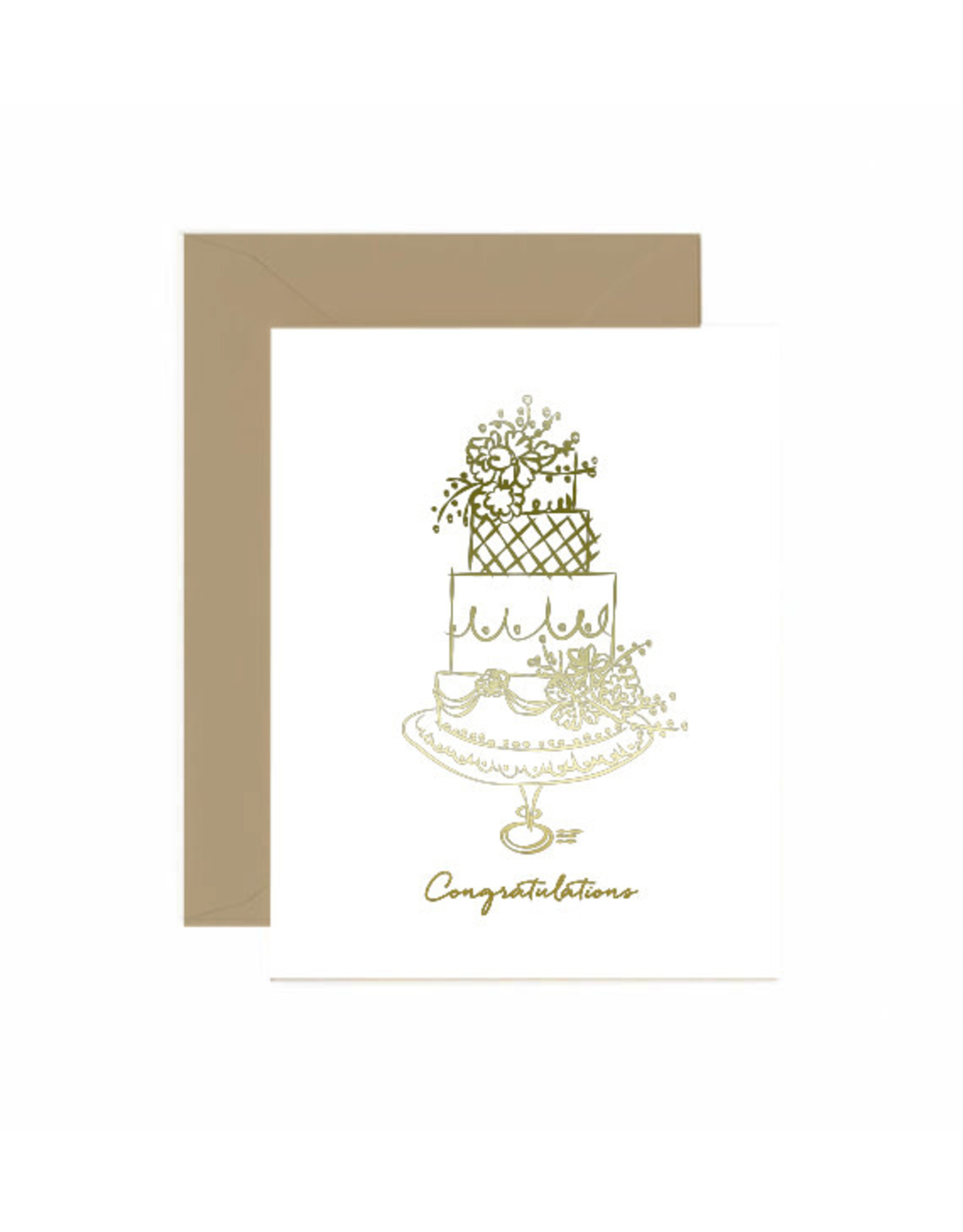 Jaybee Designs Congratulations Gold Foil Cake  - Card