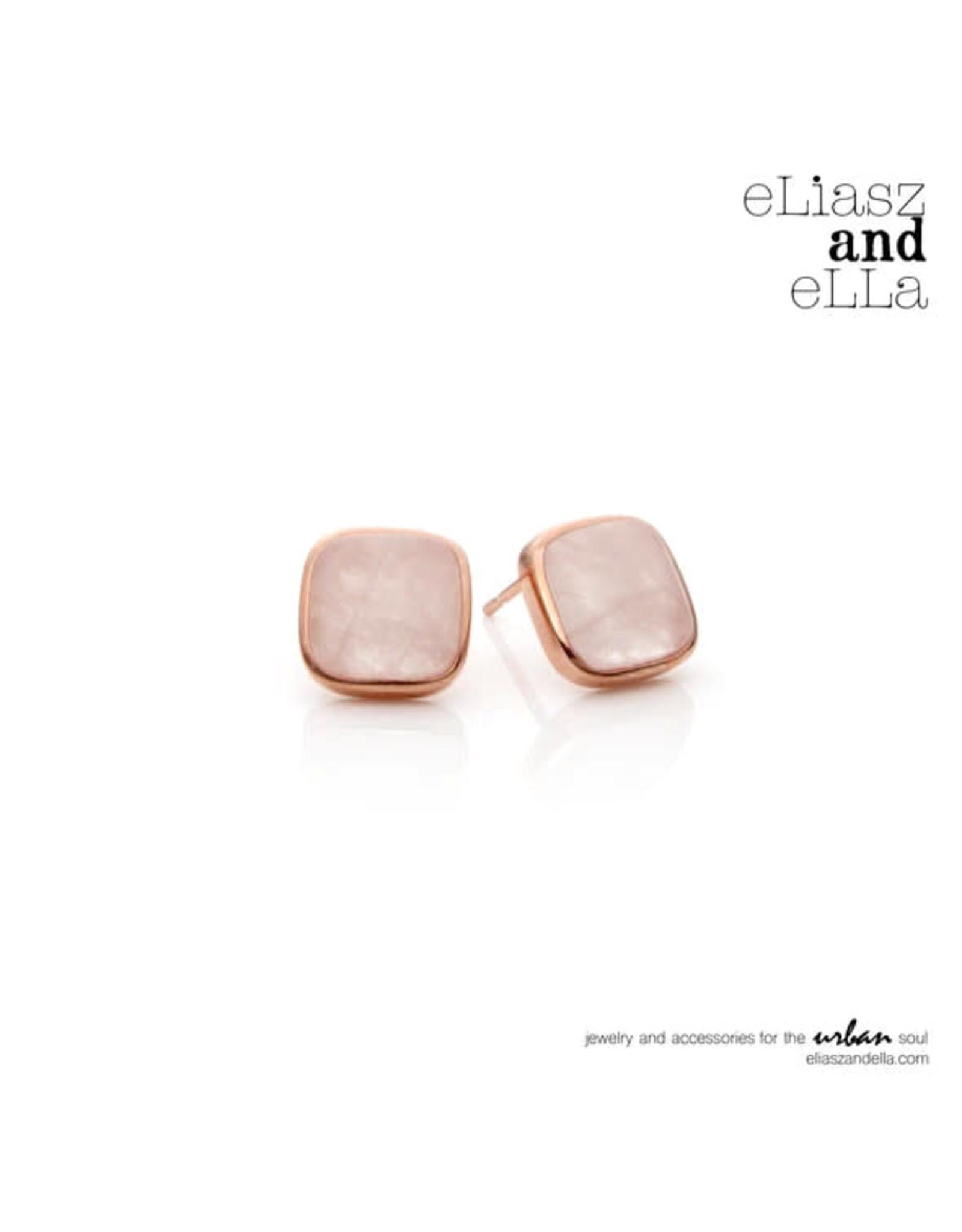 "eLiasz and eLLa Rose Quartz""Avoir"" Stud Earrings"