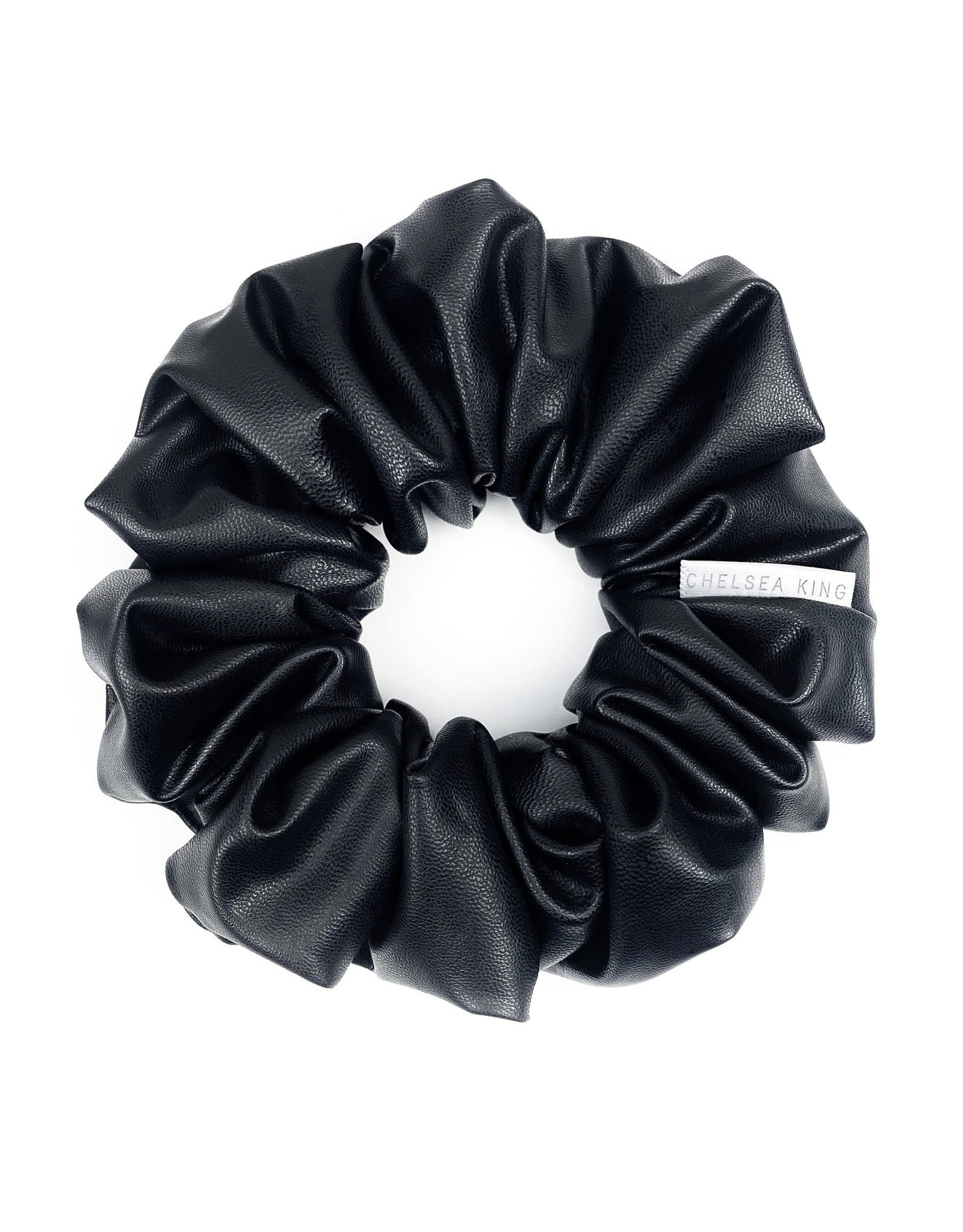 Chelsea King Faux Stretch Leather Scrunchie