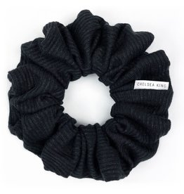 Chelsea King French Ribbed Black Scrunchie