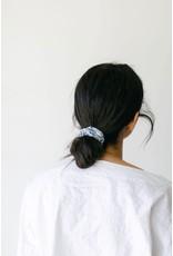 Chelsea King Linen Italian Blue Floral Scrunchie
