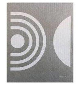 Ten & Co Arc White on Warm Grey Sponge Cloth