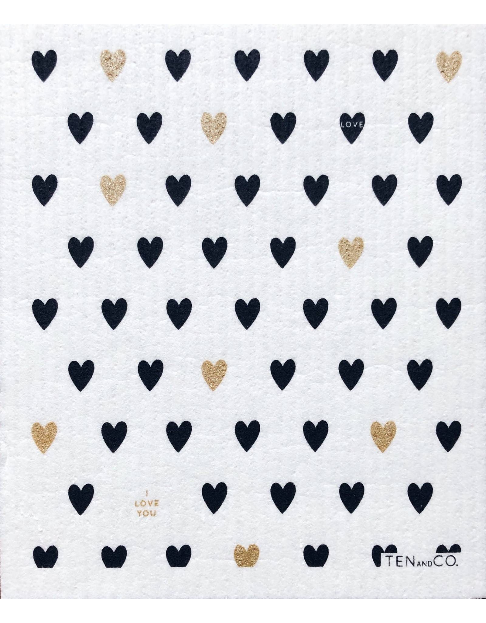 Ten & Co Heart Gold/Black Sponge Cloth