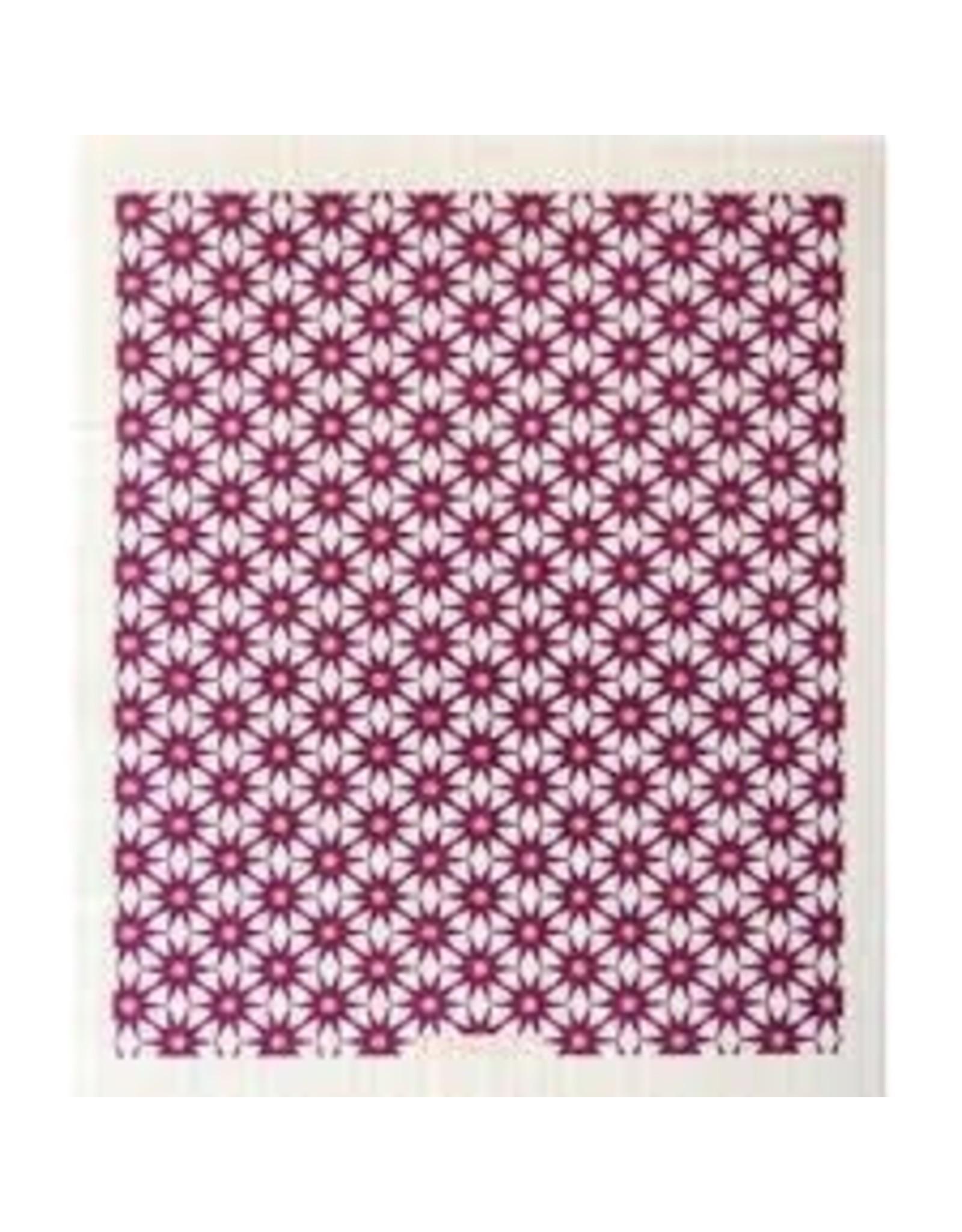 Ten & Co Starburst Plum on White Sponge Cloth
