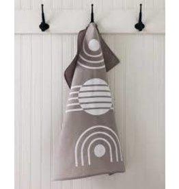 Ten & Co Tea Towel Arc White on Grey
