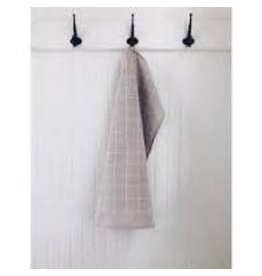 Ten & Co Tea Towel Grid (White on Warm Grey)