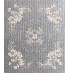 Ten & Co Vintage Floral Cream on Warm Grey Sponge Cloth
