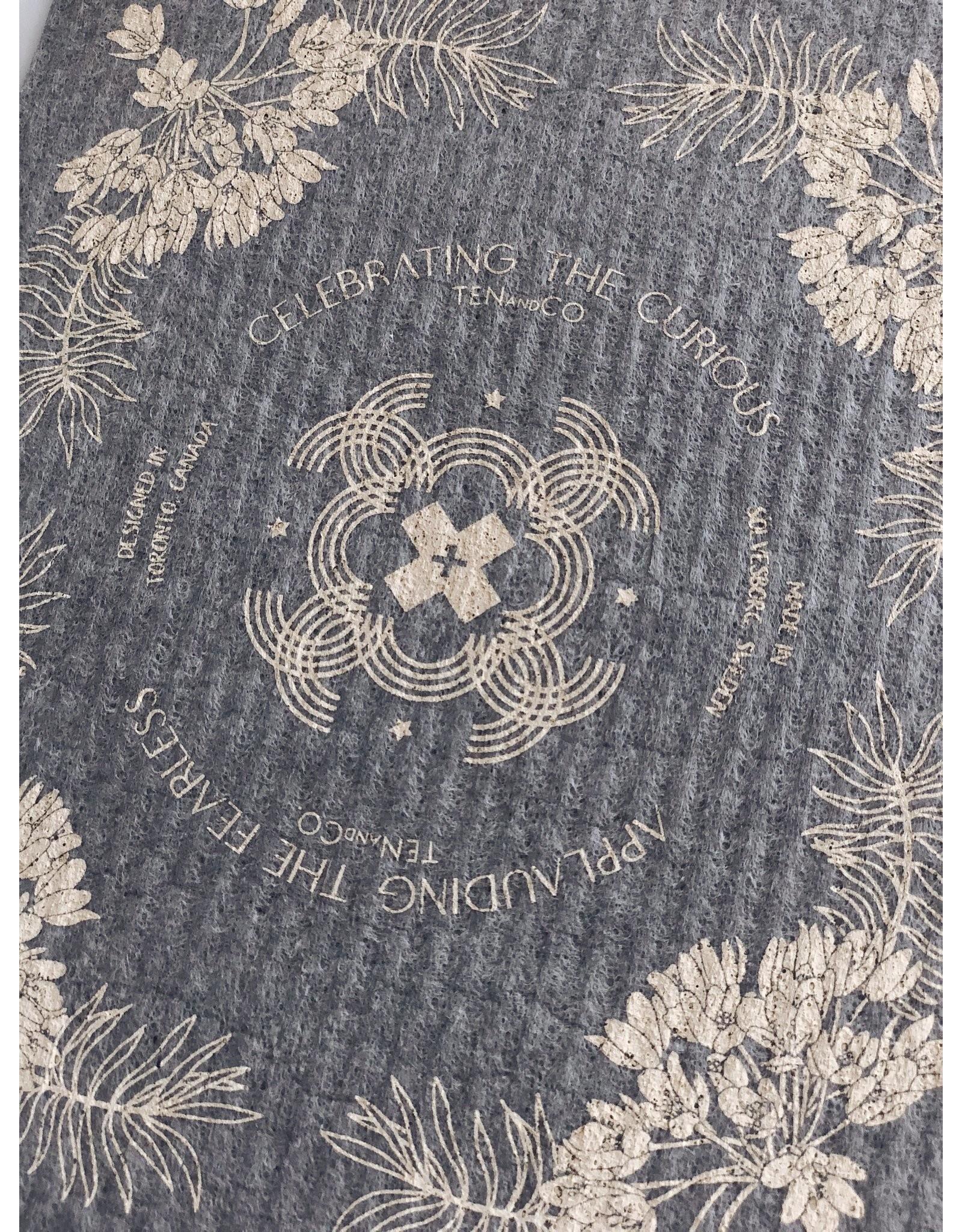 Ten & Co Vintage Floral Cream on Warm Grey Sponge Cloth