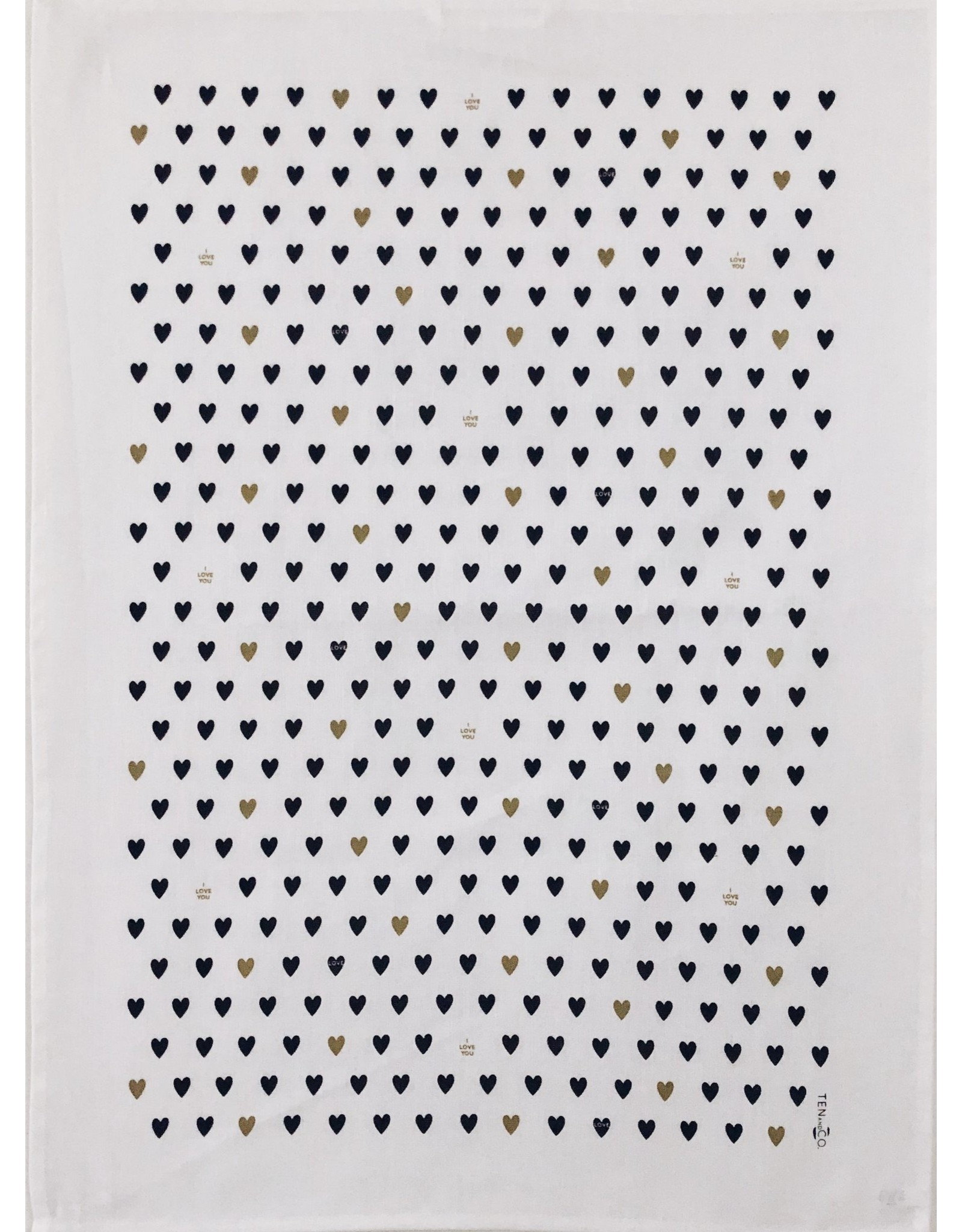Ten & Co Tea Towel Tiny Hearts (Black/Gold on White)