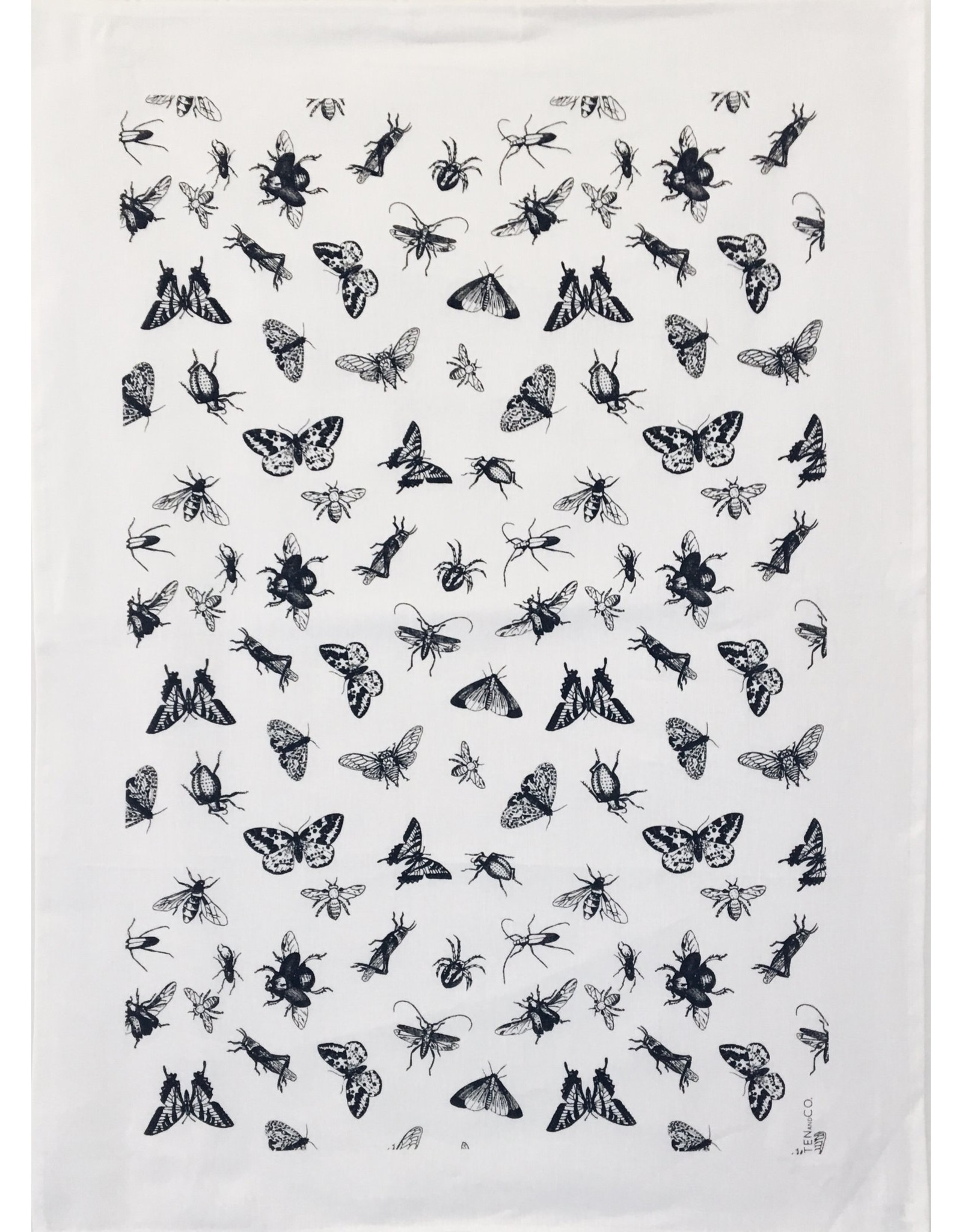 Ten & Co Tea Towel Bugs (White on Warm Grey)