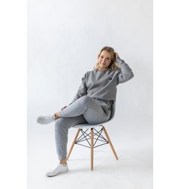 CDN Unisex Athletic Grey Cotton Patch Crewneck - Sweater