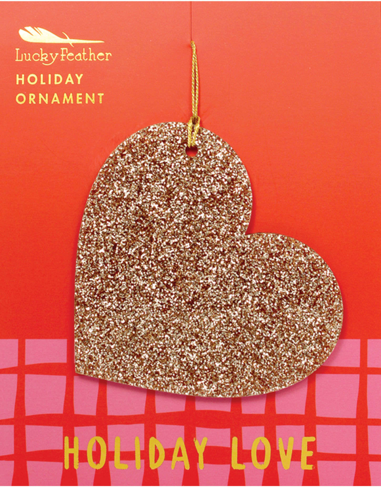 Lucky Feather Gold Glitter Ornament
