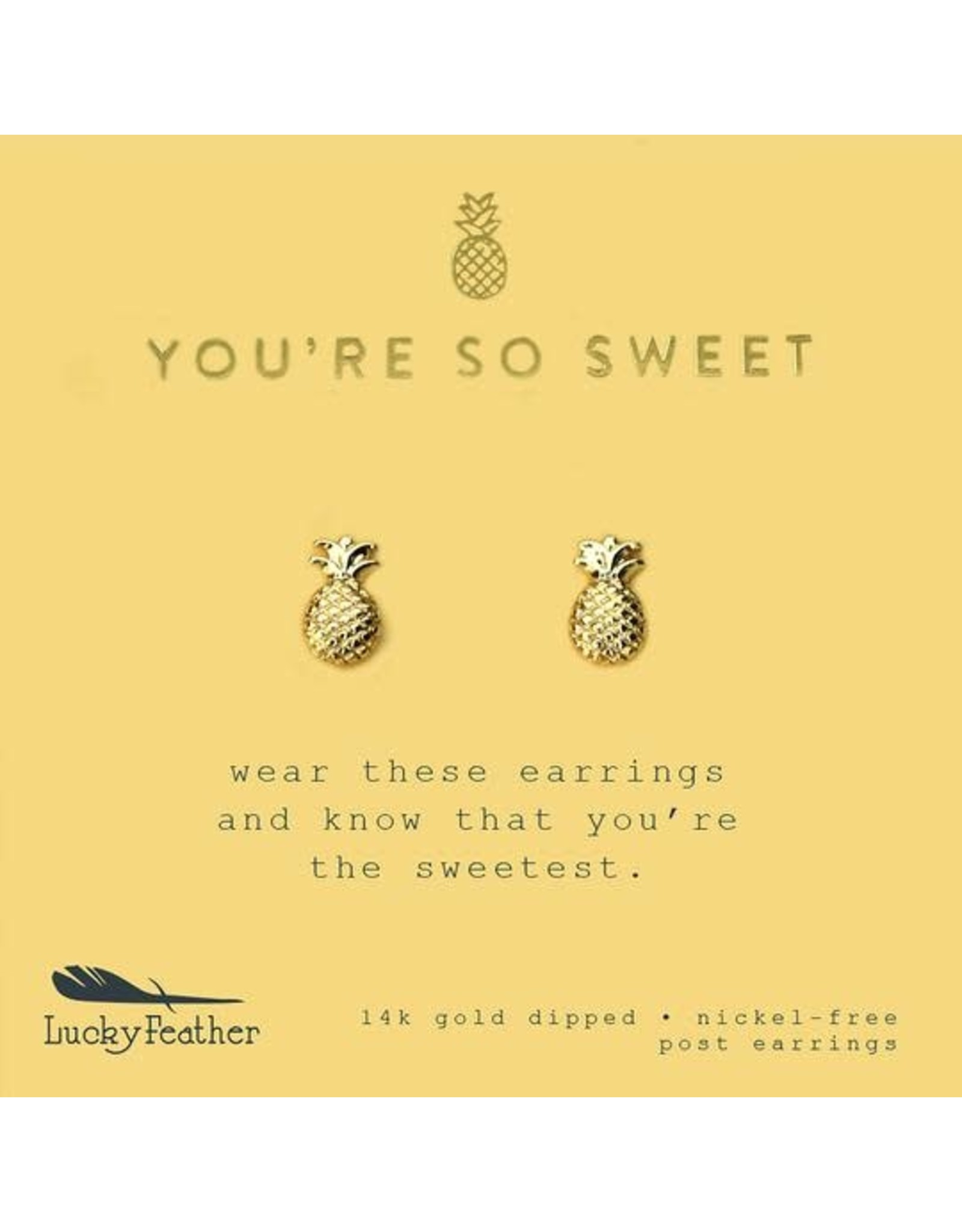 Lucky Feather New Moon Gold Earrings