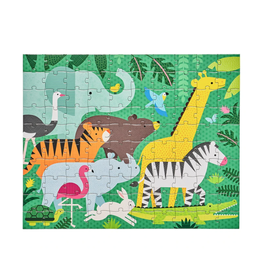 Petit Collage Double Sided On-The-Go 2 in 1 Puzzle - Animal Menagerie
