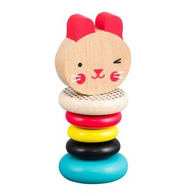 Petit Collage Modern Bunny Wooden Rattle