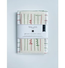 Ten & Co Falala Red and Green - Sponge Cloth & Tea Towel Gift Set