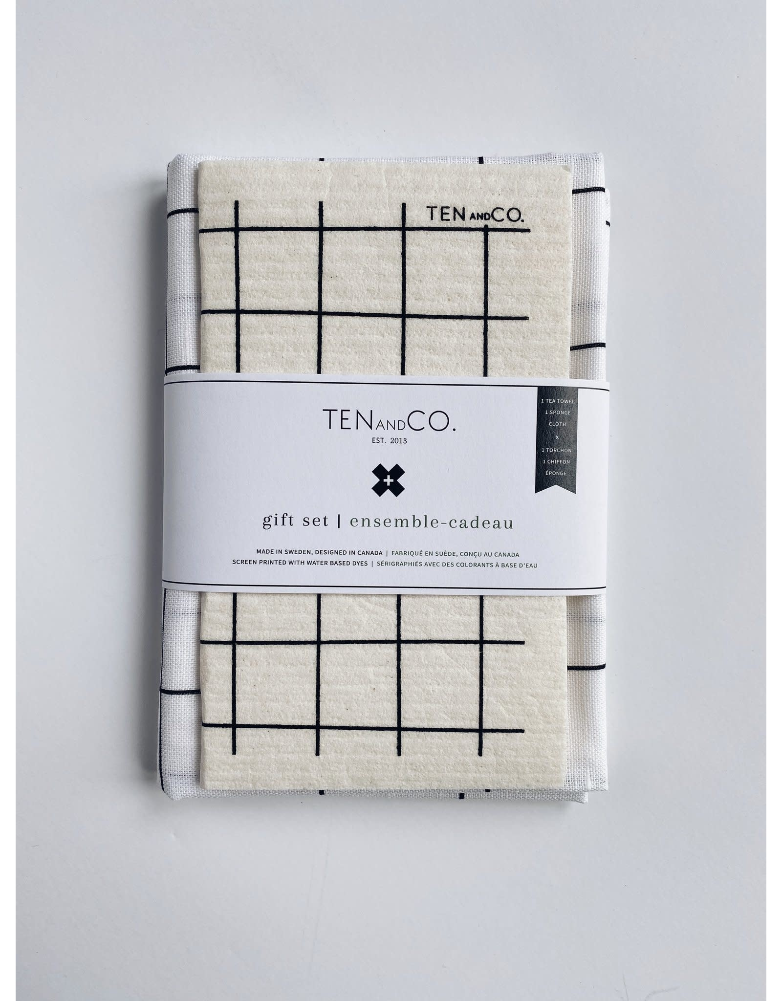 Ten & Co Grid Black on White - Sponge Cloth & Tea Towel Gift Set