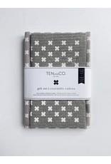 Ten & Co Tiny X White on Warm Grey - Sponge Cloth & Tea Towel Gift Set