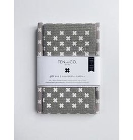 Ten & Co Tiny X White on Warm Grey - Sponge Cloth & Tea Towel Gift Set