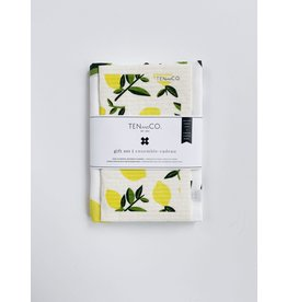 Ten & Co Vintage Fruits - Citrus Lemon - Sponge Cloth & Tea Towel Gift Set
