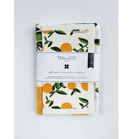 Ten & Co Vintage Fruits - Citrus Orange - Sponge Cloth & Tea Towel Gift Set