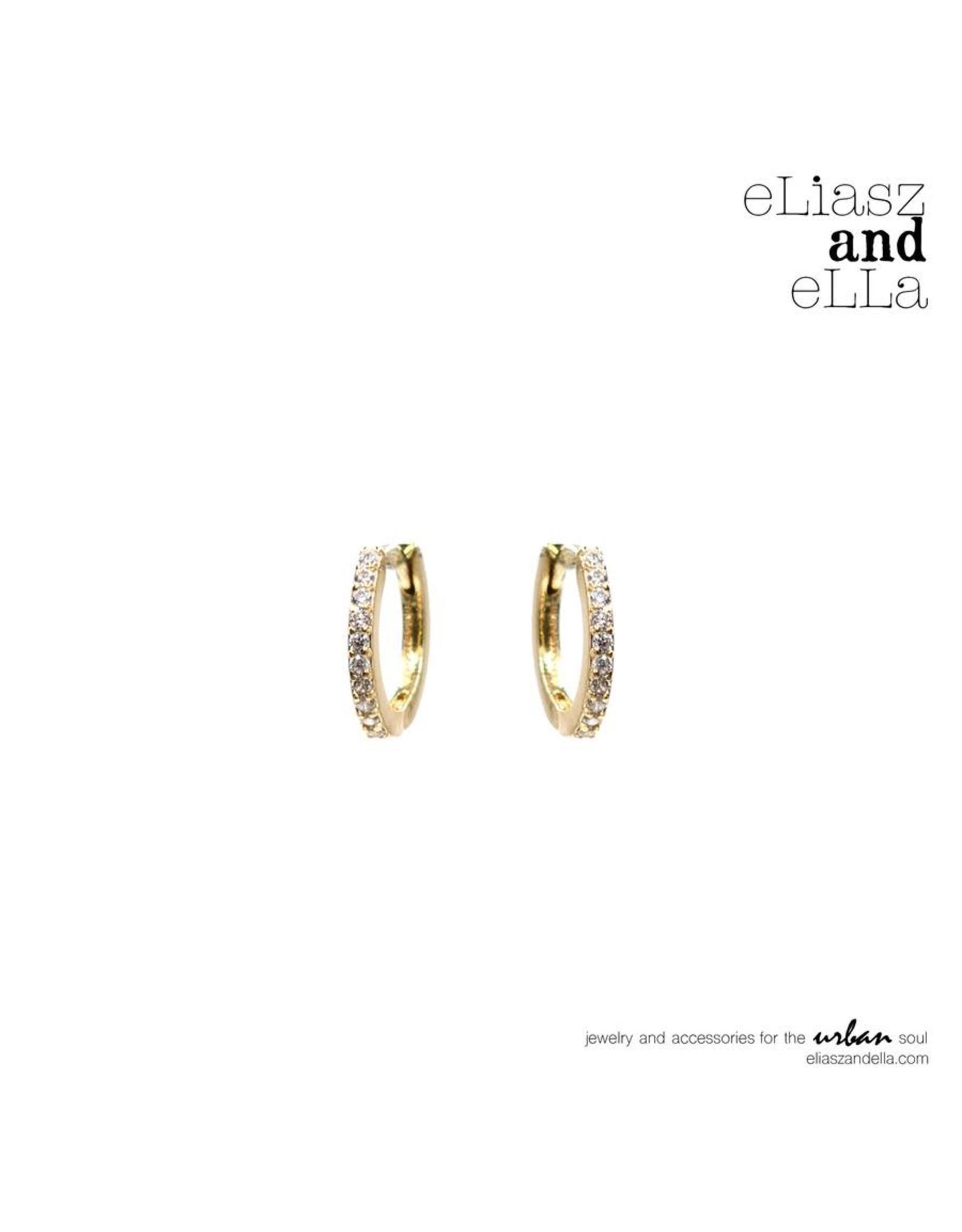 """eLiasz and eLLa """"CZ Sparkle"""" Huggie Hoop Earrings Gold"""
