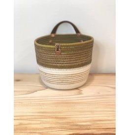 Twine Trim Two Tone Basket - Green