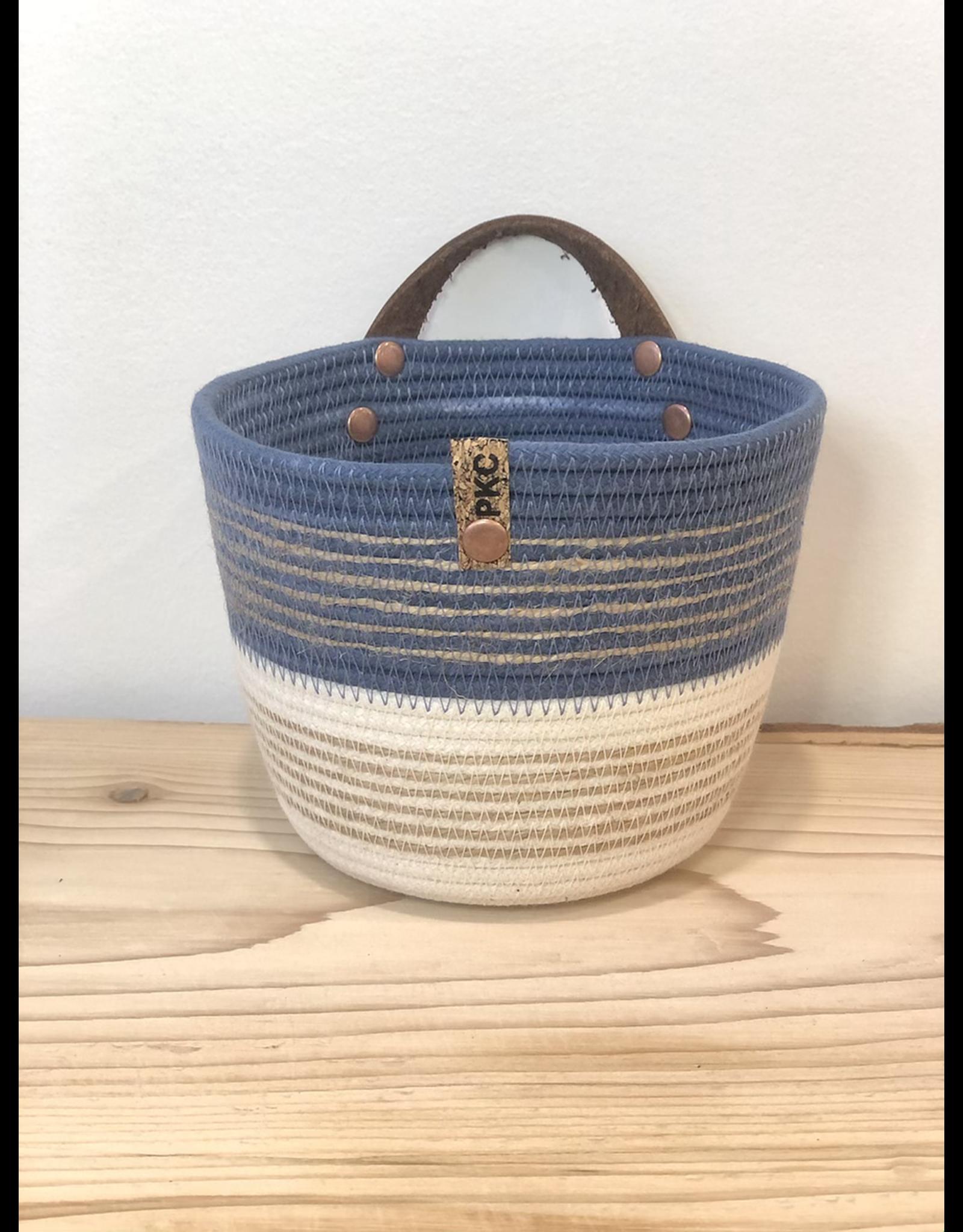 Twine Trim Two Tone Basket - Dark Blue