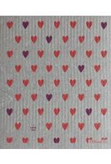 Ten & Co Heart Coral on Grey Sponge Cloth