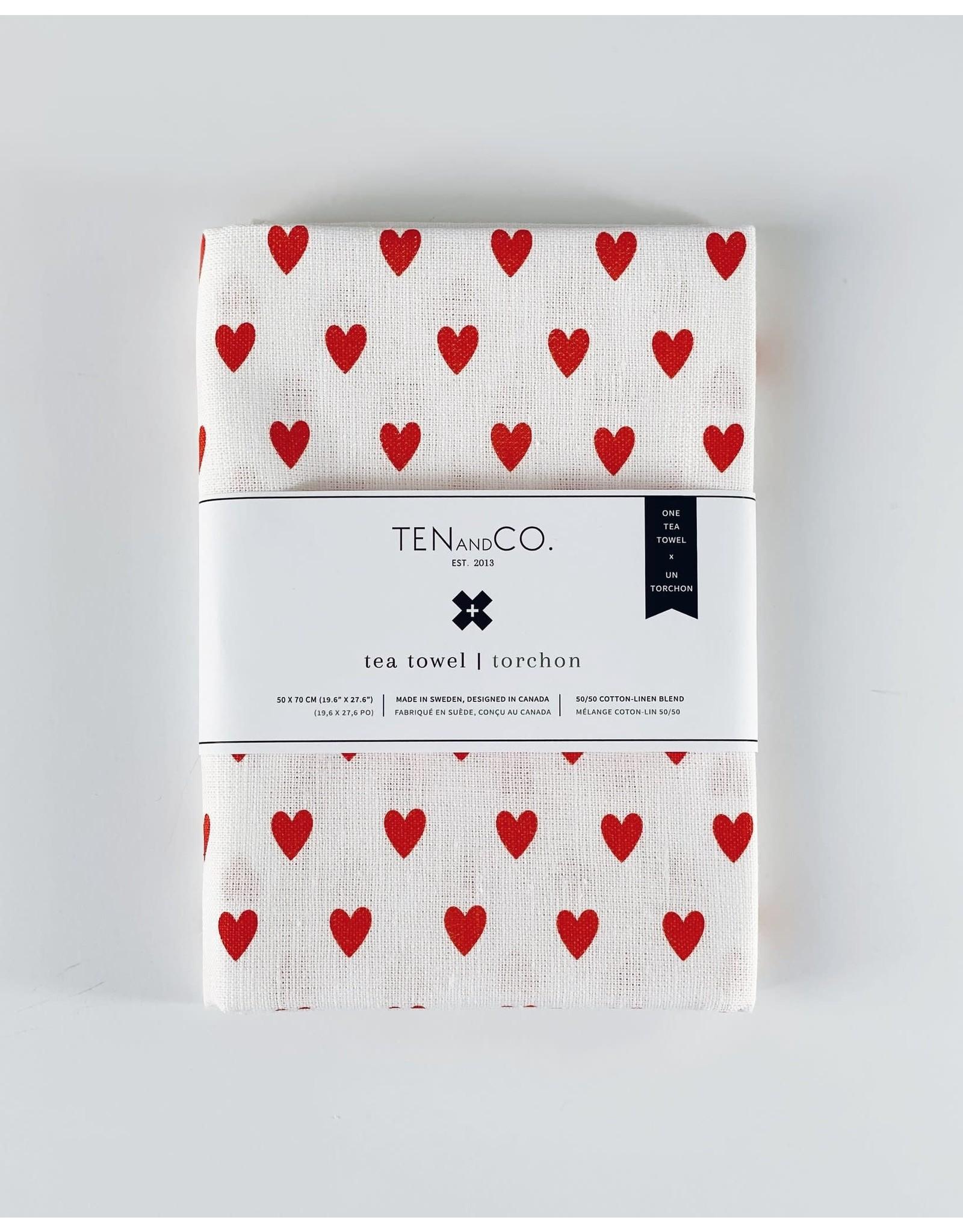Ten & Co Tea Towel Tiny Hearts Bright Red