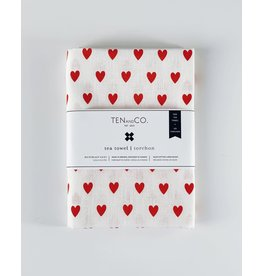 Ten & Co Tiny Hearts Bright Red tea towel
