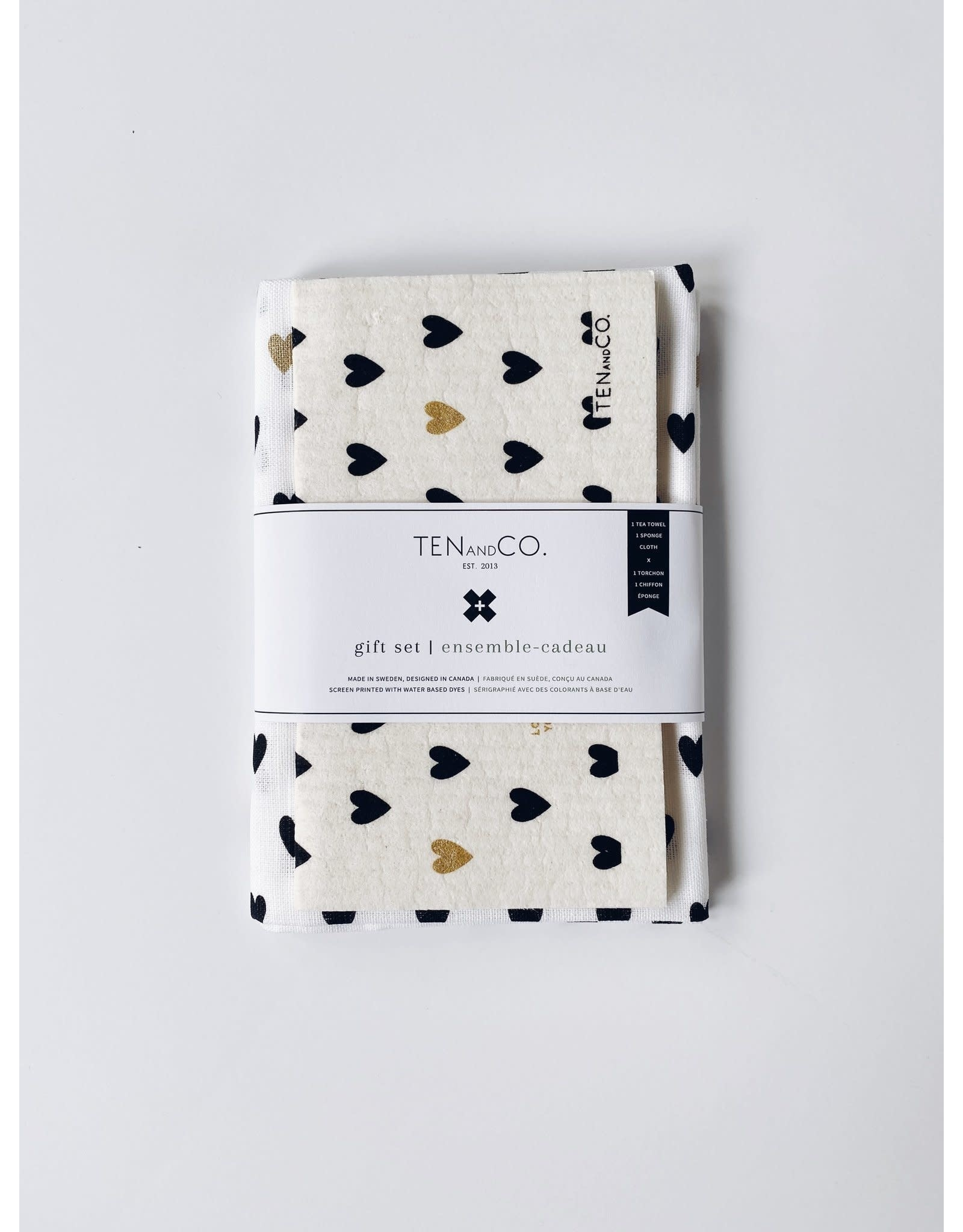 Ten & Co Gift Set- Tiny Hearts Gold and Black
