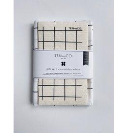Ten & Co Grid Black and White - Sponge Cloth & Tea Towel Gift Set