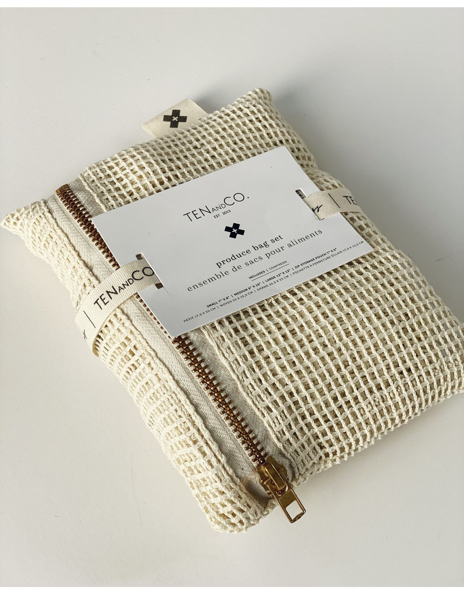 Ten & Co Produce Bag- Set of 3 Plus Zipped Pouch