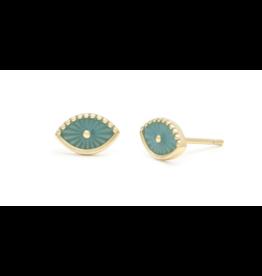 Melanie Auld Turquoise Enamel Evil Eye Studs - Gold Vermeil