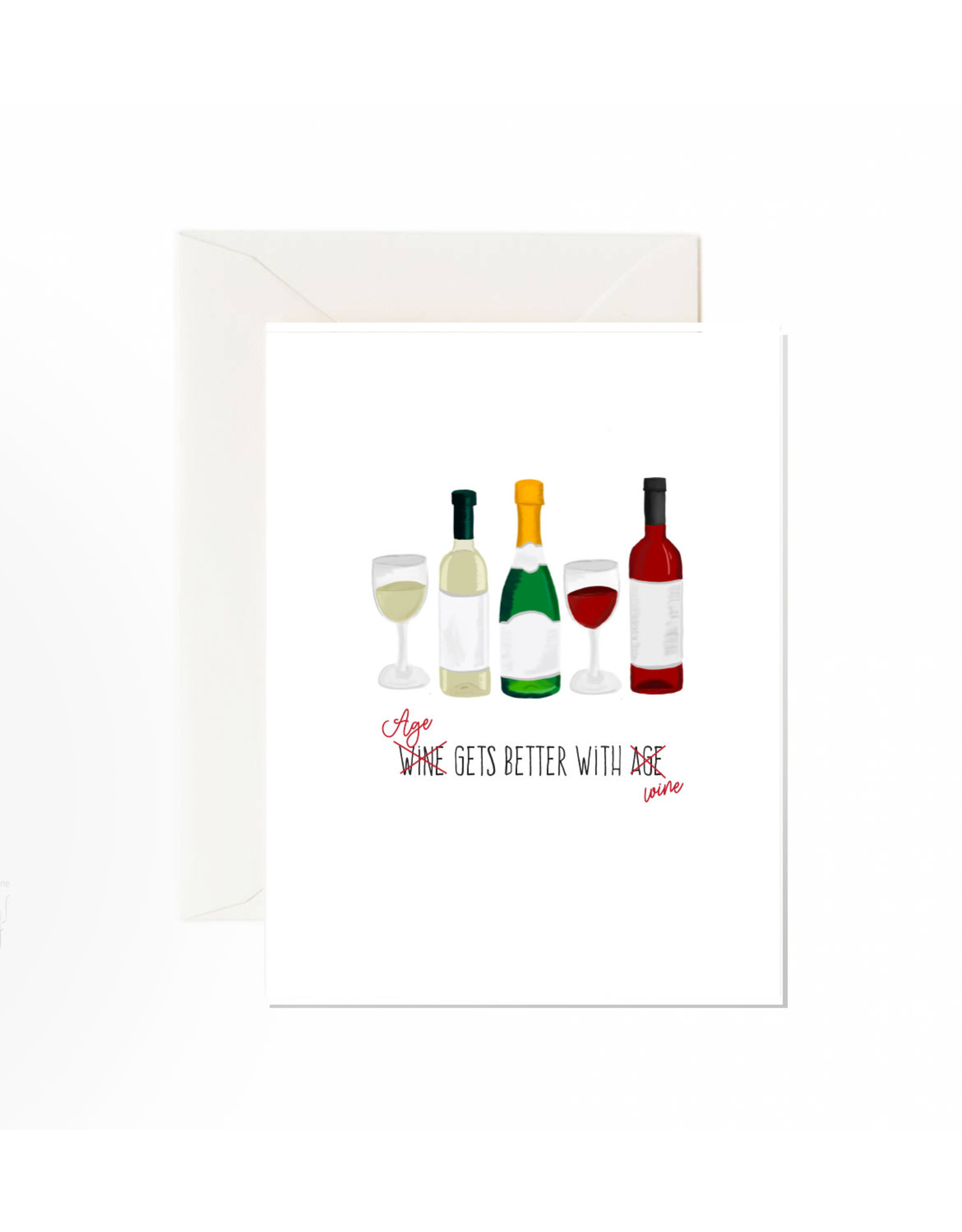 Jaybee Designs Age Gets Better With Wine - Card