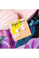 Night Moves Atelier Hungry Heart Resin Mini Stud Earrings in White