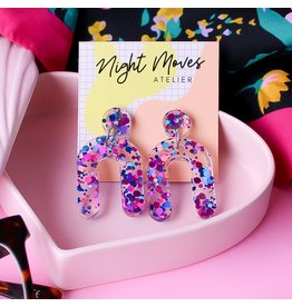 Night Moves Atelier Earrings- Resin Mini Arches in '1999'