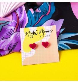 Night Moves Atelier Hungry Heart Resin Mini Stud Earrings in Fuschia