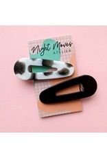 Night Moves Atelier Resin Hair Clip Duo in Cowprint/Black