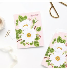 Linden Paper Co. Garden Rose Thank You Card | Set of 8