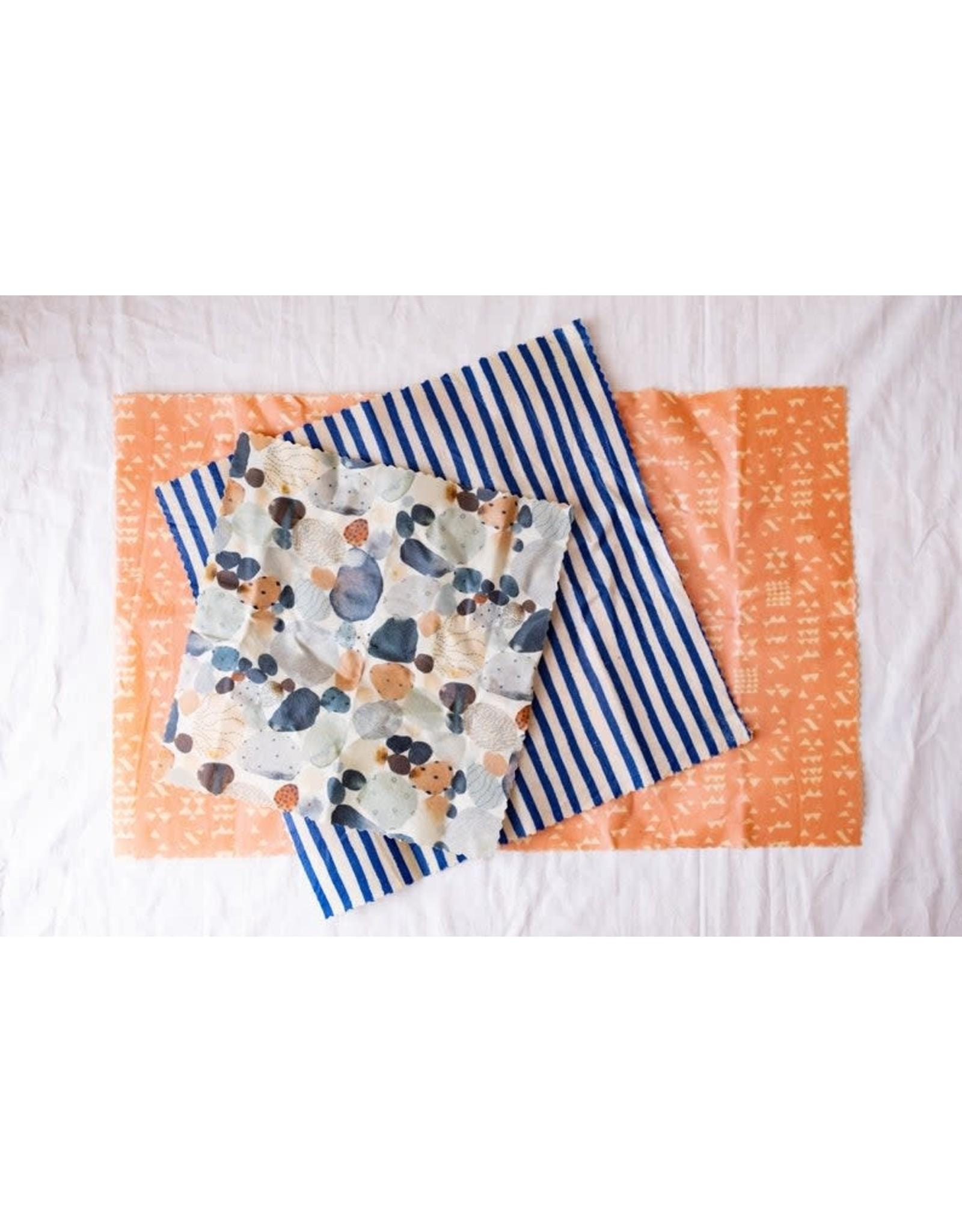 Single Medium 'Pebble Beach'  Beeswax Wrap