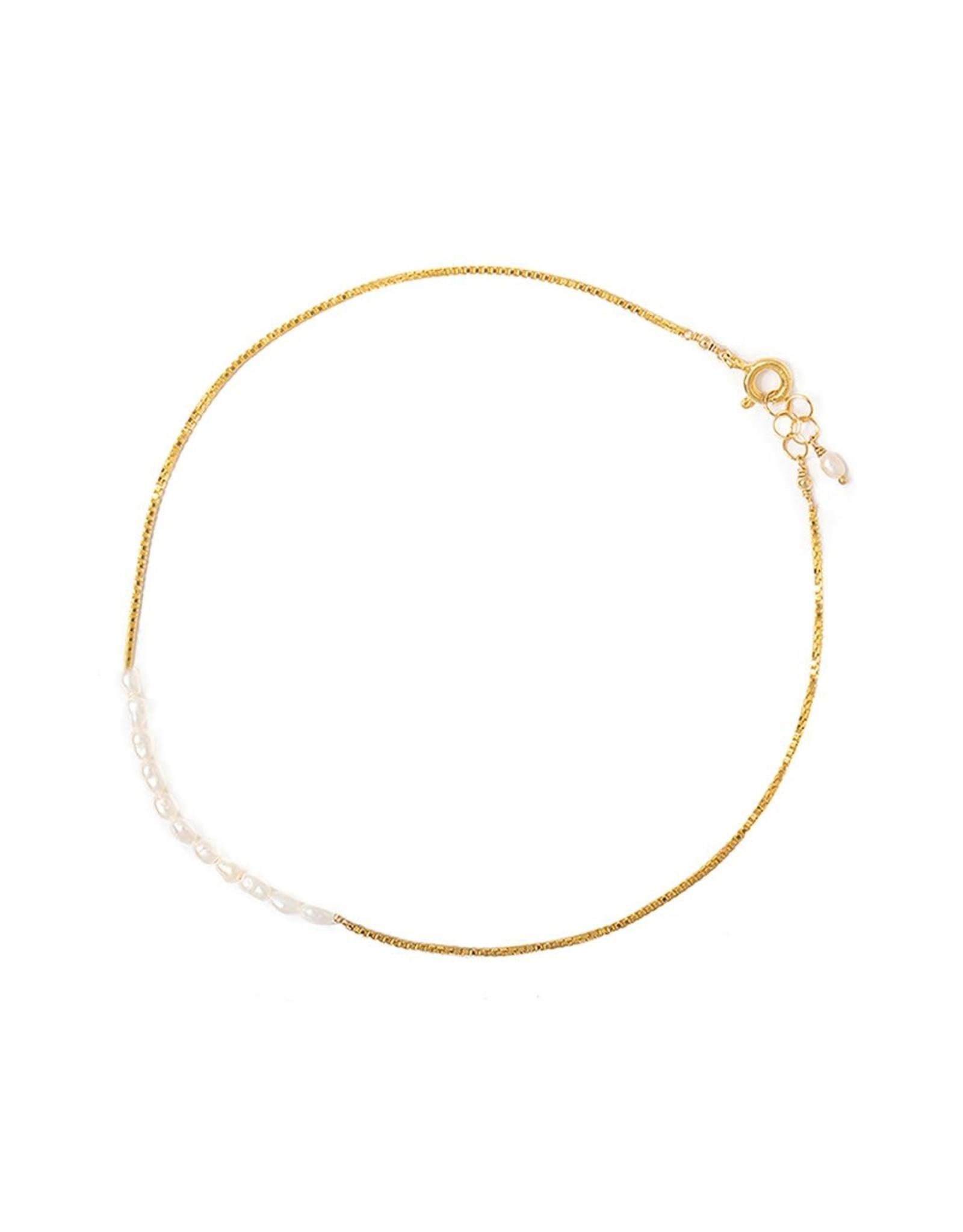 leah alexandra Pearl Bar Anklet | Goldfill