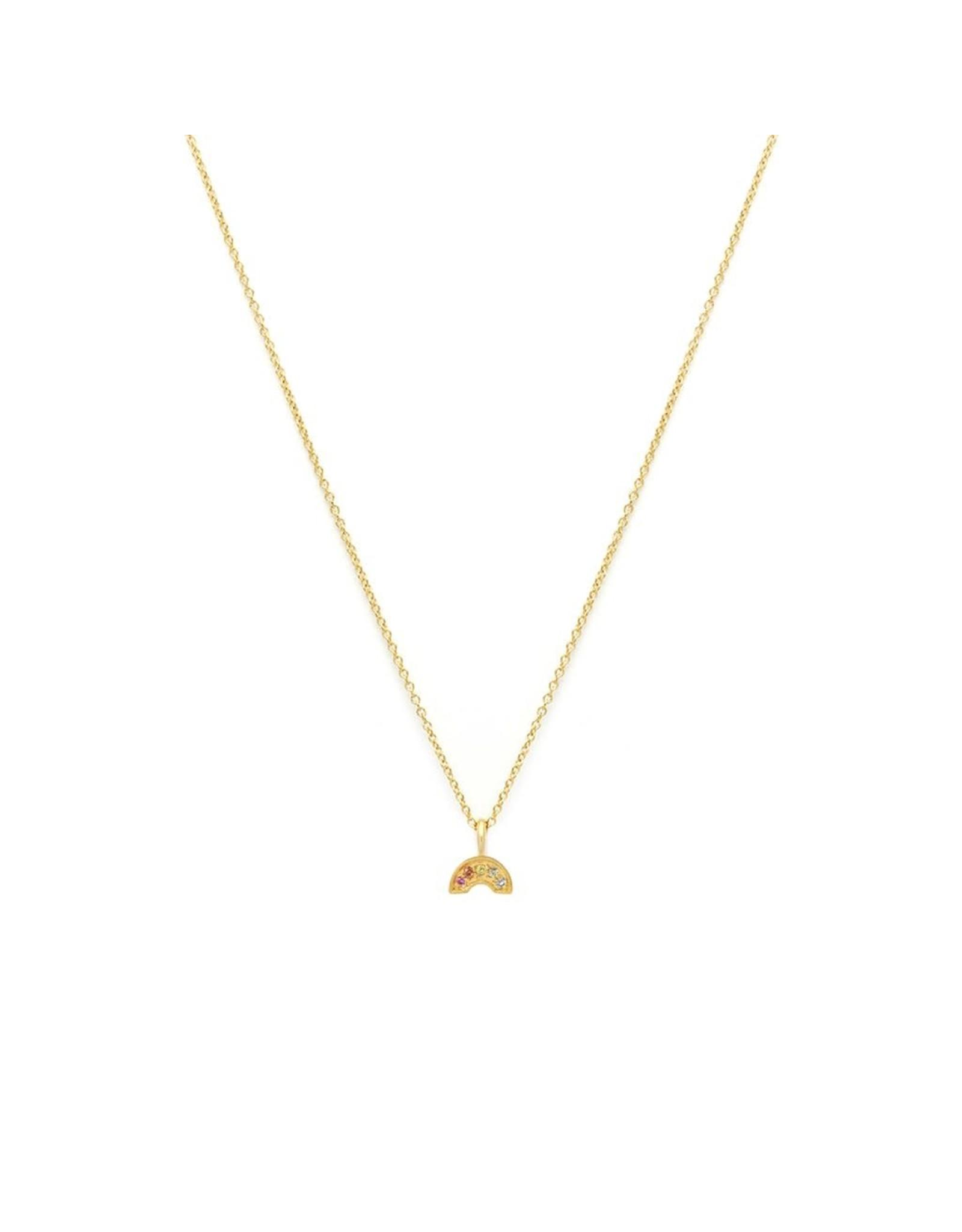 leah alexandra Rainbow Pave Necklace   Multi Sapphire