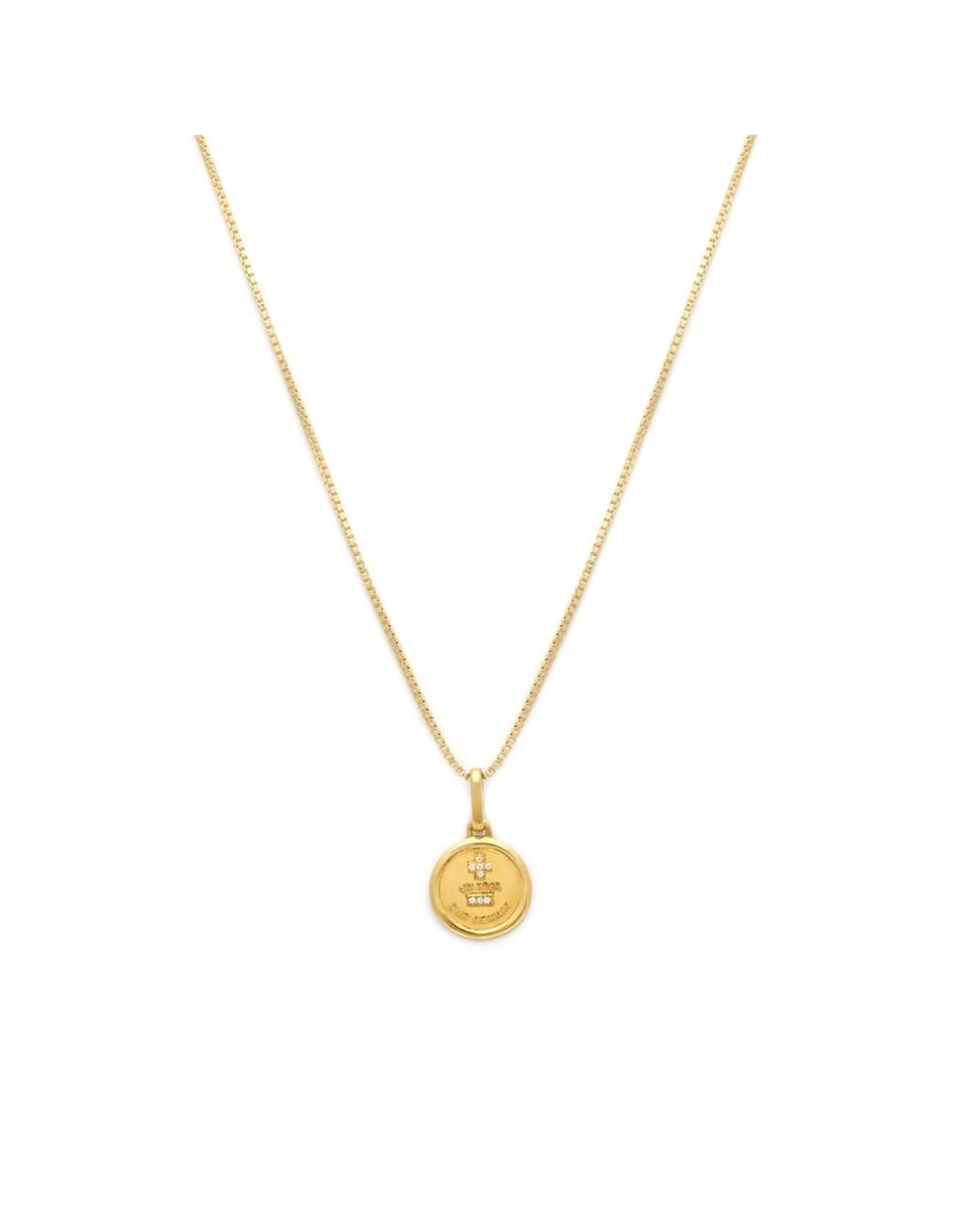 leah alexandra Love Token  Necklace | Round - Gold