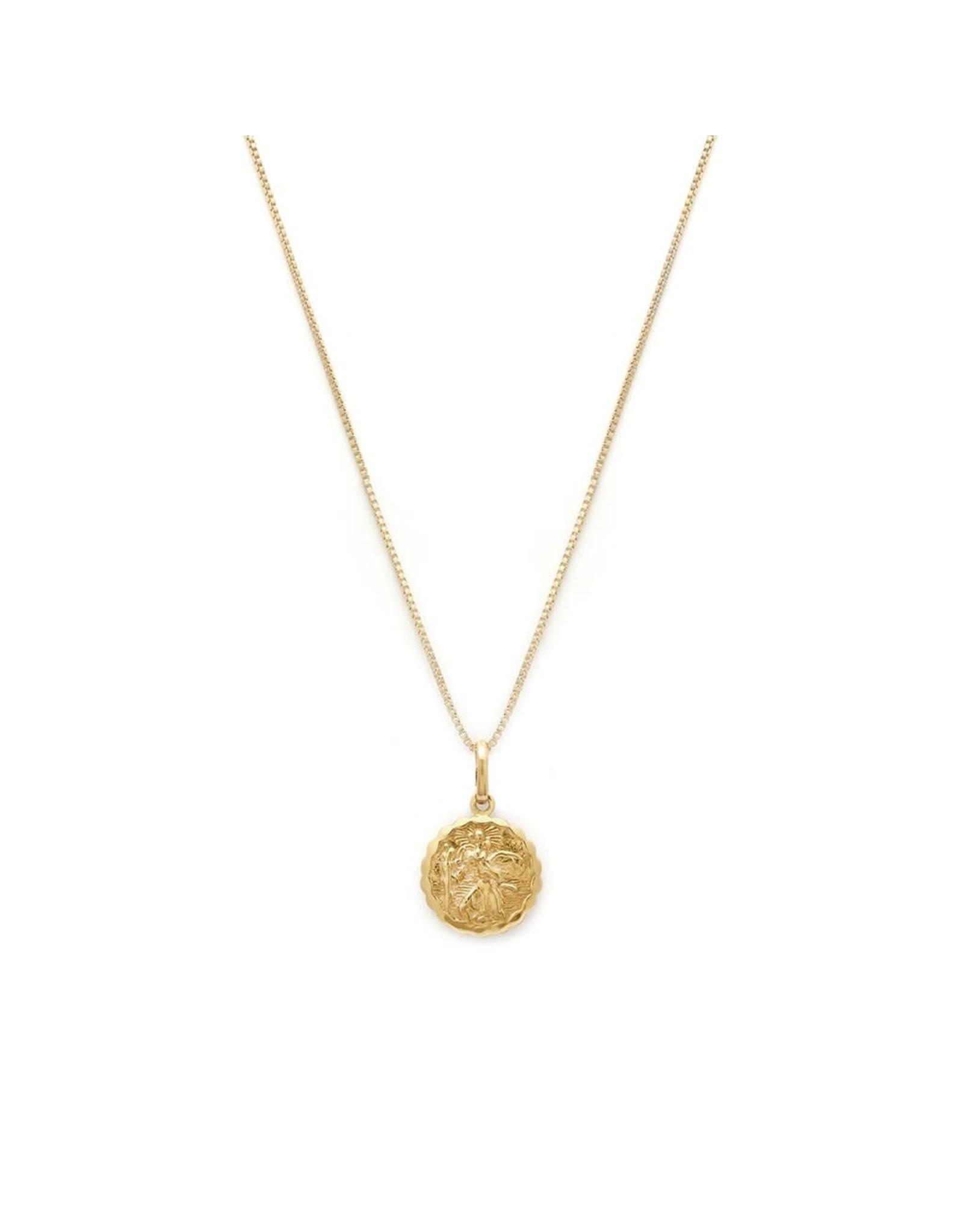 leah alexandra St Christoper Necklace   Gold