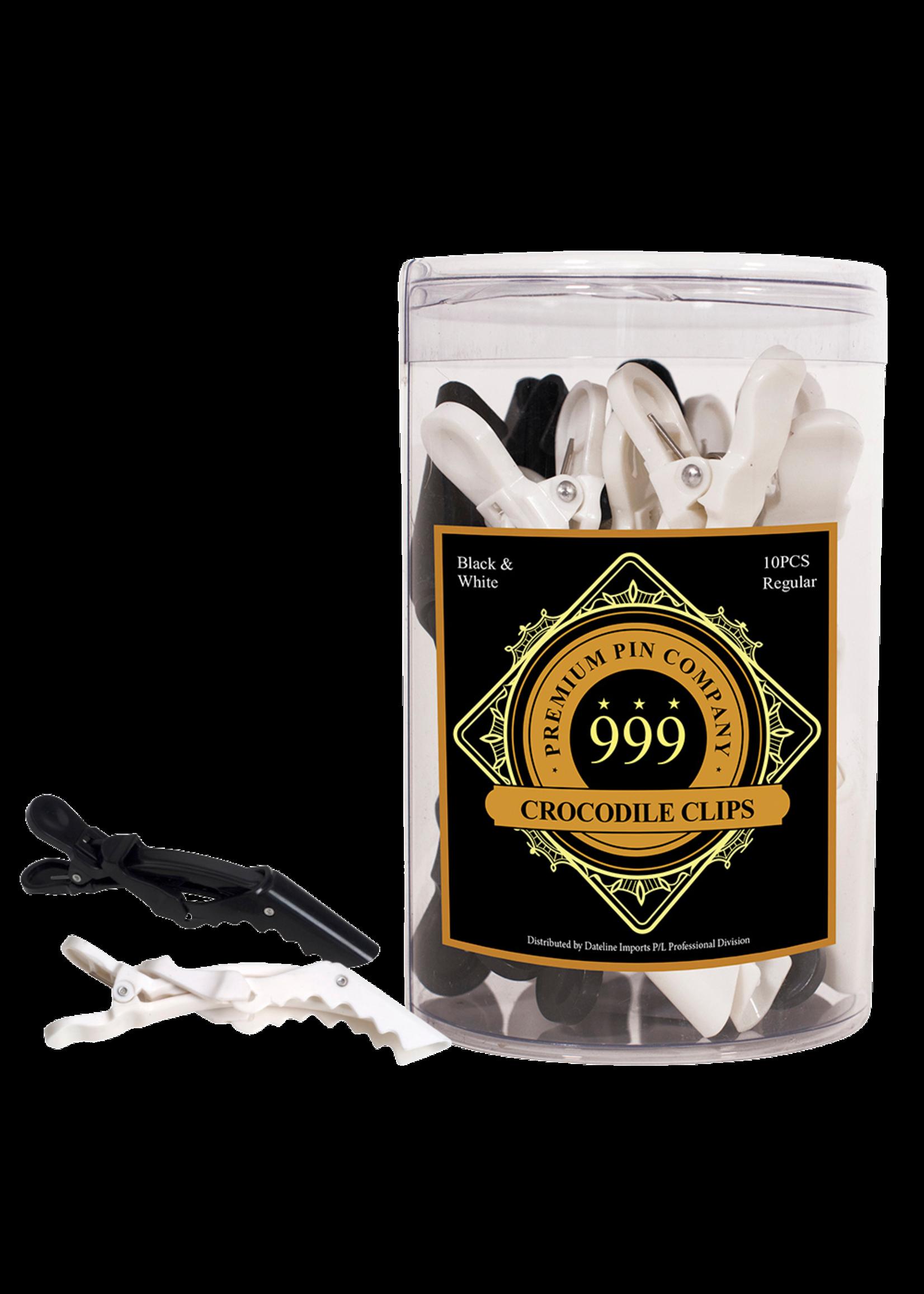 999 Premium Pin Company 999 Crocodile Clips Large Black & White Tub 10pcs