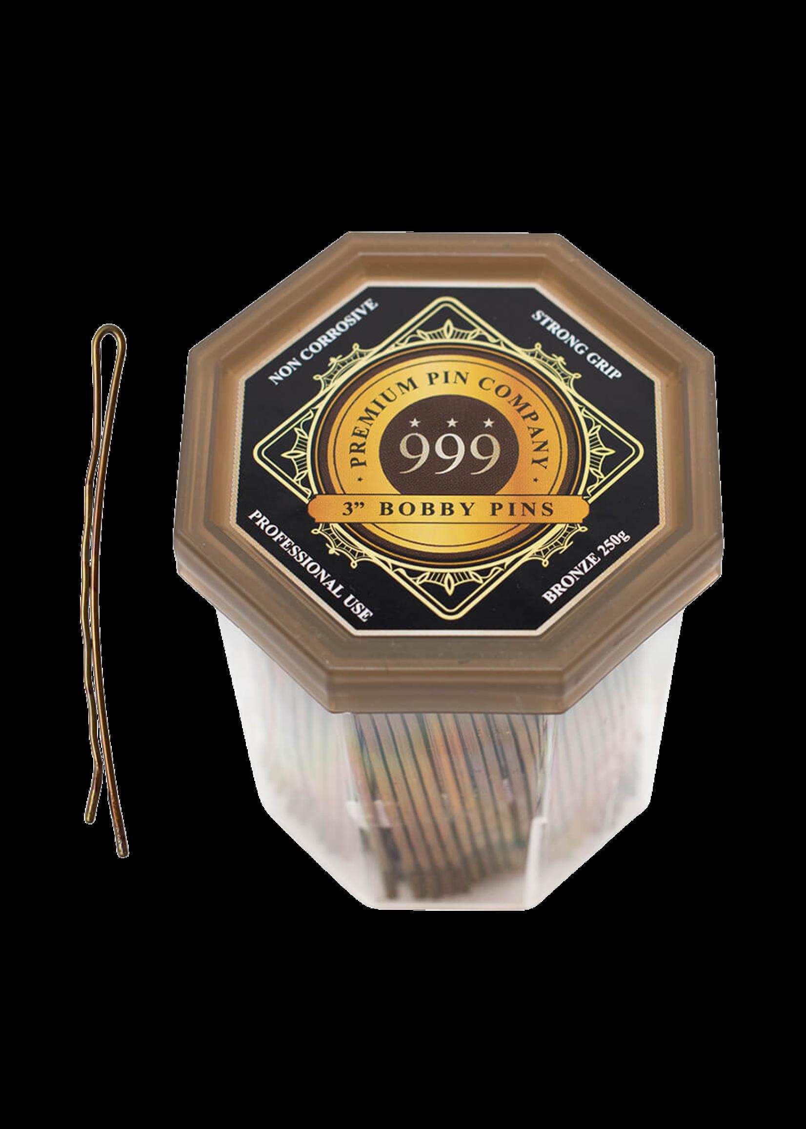 "999 Premium Pin Company 999 Bobby Pins 3"" Bronze Tub 250g"