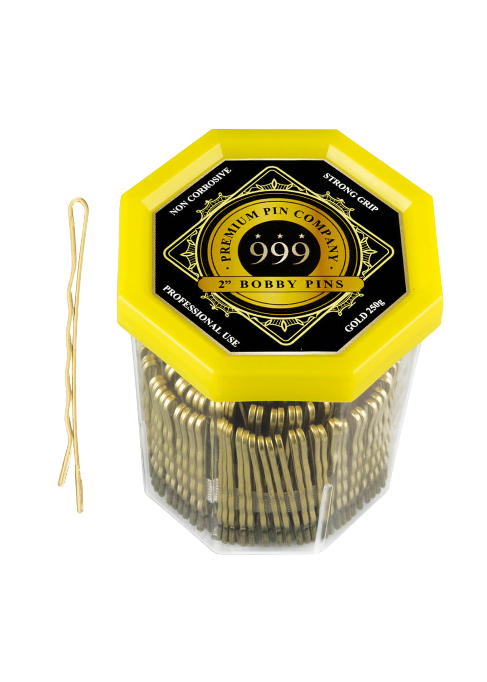 "999 Premium Pin Company 999 Bobby Pins 2"" Gold Tub 250g"