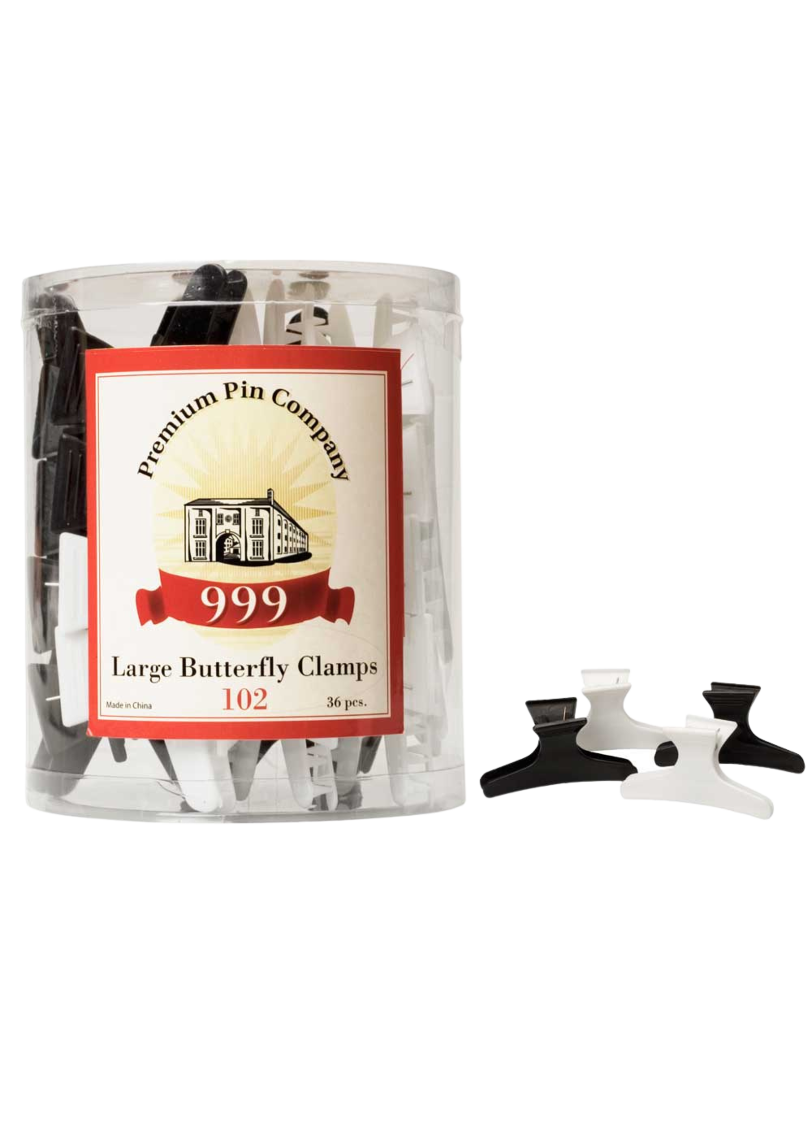 999 Premium Pin Company 999 Butterfly Clamps Large Black & White Tub 36pcs